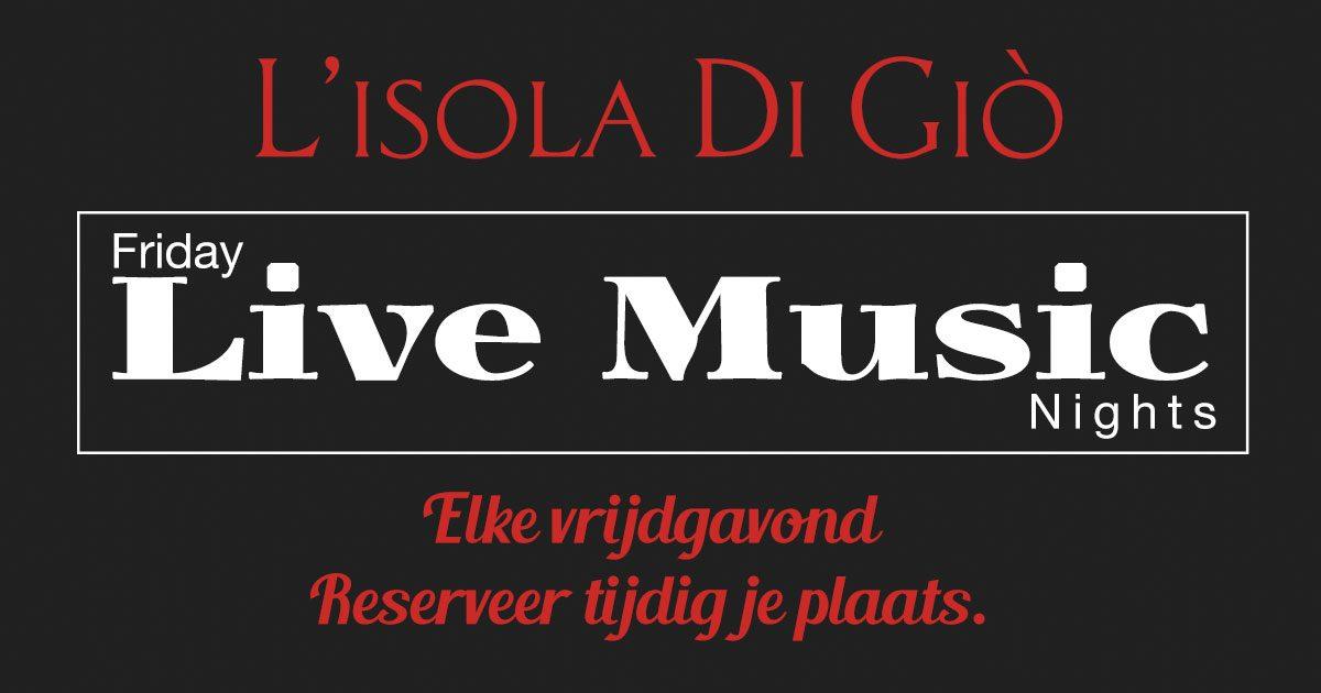 Vanaf November 2017 – Elke vrijdagavond Live Muziek